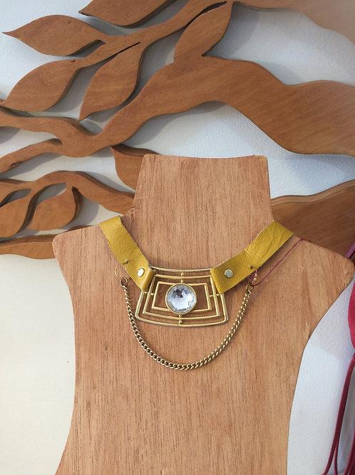 Yellow Ochre Leather Pendant