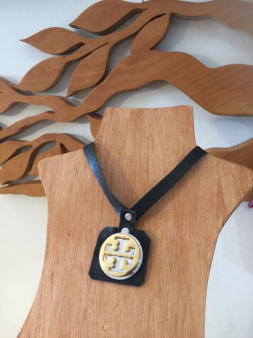 Upcycled Tory Burch Black Leather Pendant
