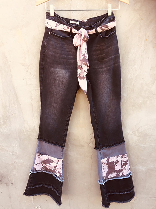 Upcycled Black Bell Bottom Jeans