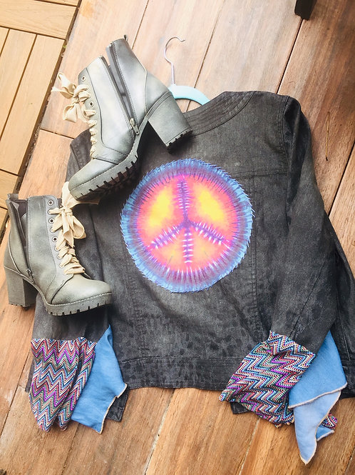 Rustic Black Peace Sign Cropped Jacket
