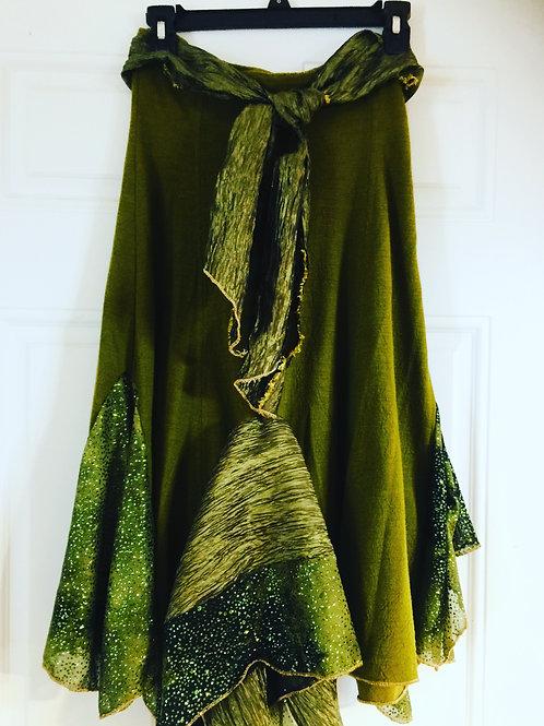 Spring Green Upcycled Circle Skirt