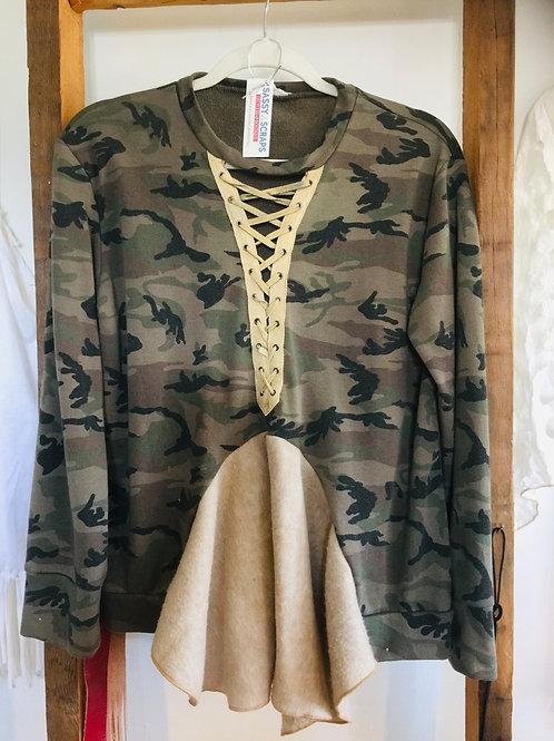 Upcycled Laced Camouflage Sweatshirt