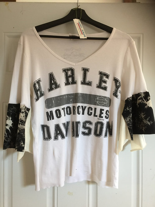 Harley Davidson Upcycled White Tee
