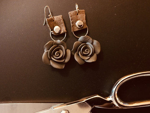 Rosette and Leather Earrings