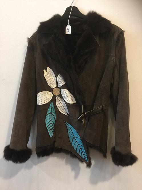 Rabbit Fur Lined Handpainted Coat