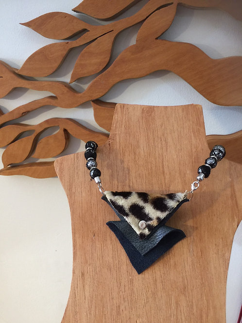 Laced Beads with Leather and Fur Pendant