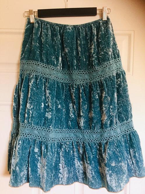 Blue Crushed Velour Ruffle Skirt