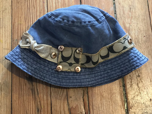 Upcycled Coach Blue Bucket Hat