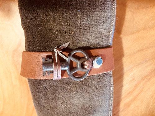 Antique Key Leather Cuff