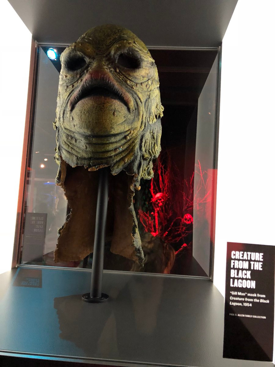 Mask from Creature from the Black Lagoon in its case at MoPOP.
