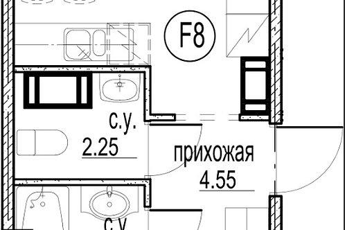 1-комн. квартира, 39,87 м, 3/12 этаж