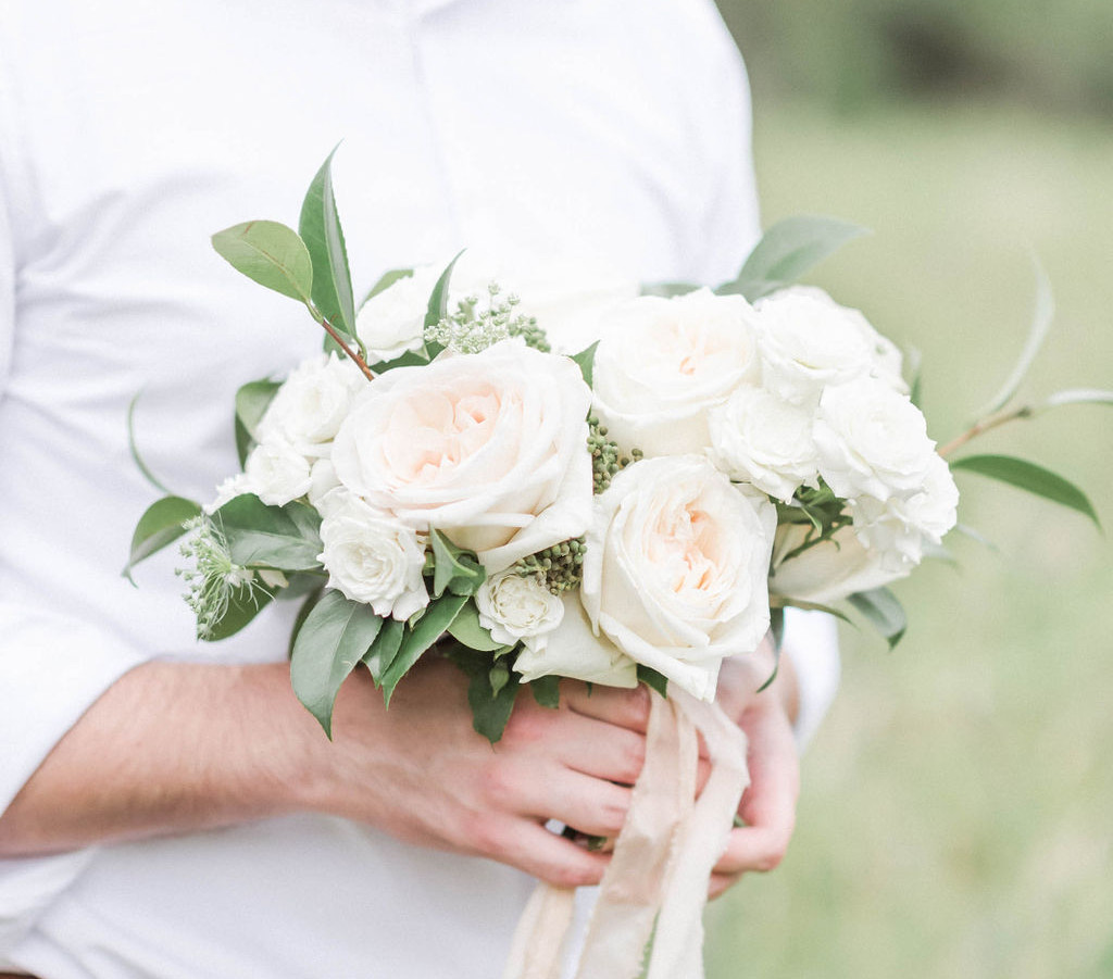 Blush White and Greenery Engagement Bouquet