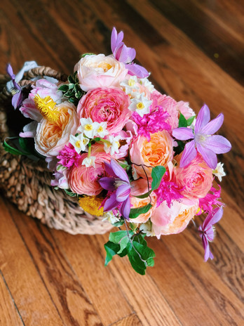 Engagement Bouquet Rattan Basket