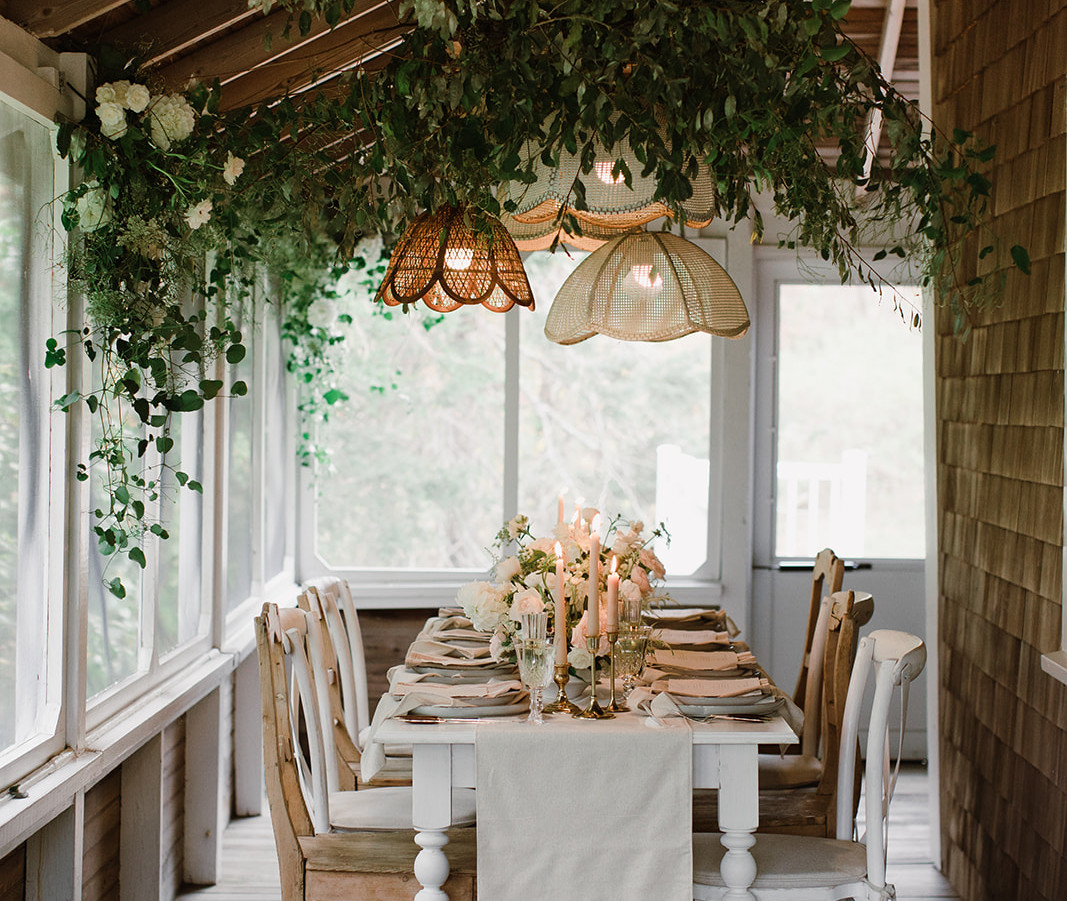 Greenery Installation Over Dinner Table