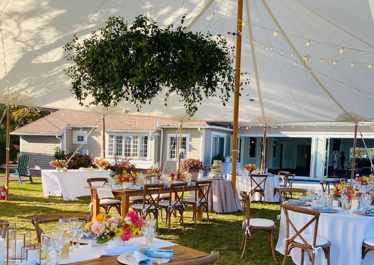Tented Reception with Greenery Hoop