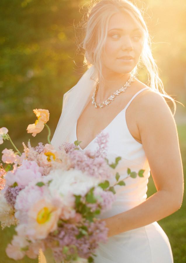 Poppy, Peony, Astilbe, Lilac Bridal Bouquet