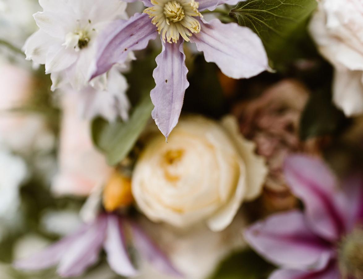Clematis Garden Rose Delphinium Bouquet Details