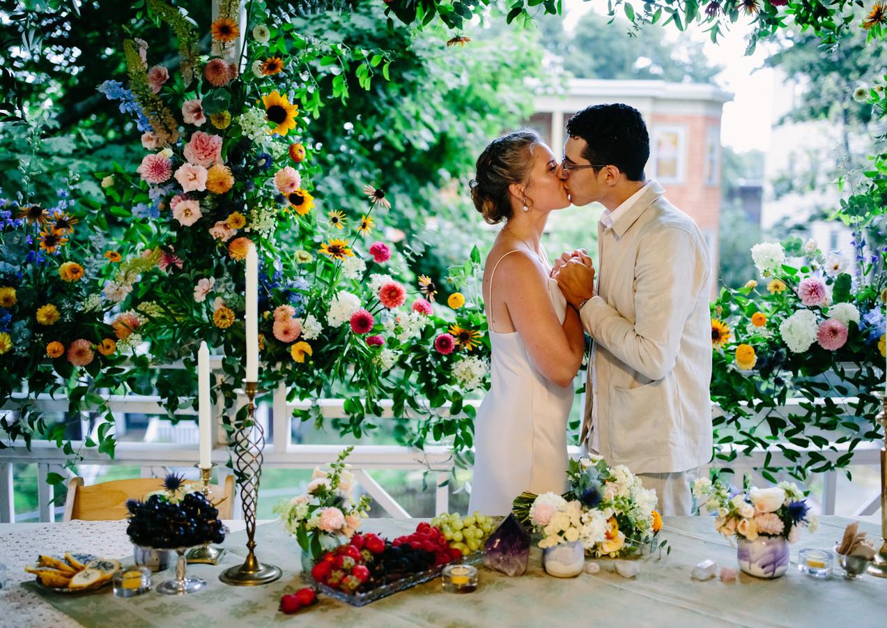 Intimate Wedding Dinner Floral Installation
