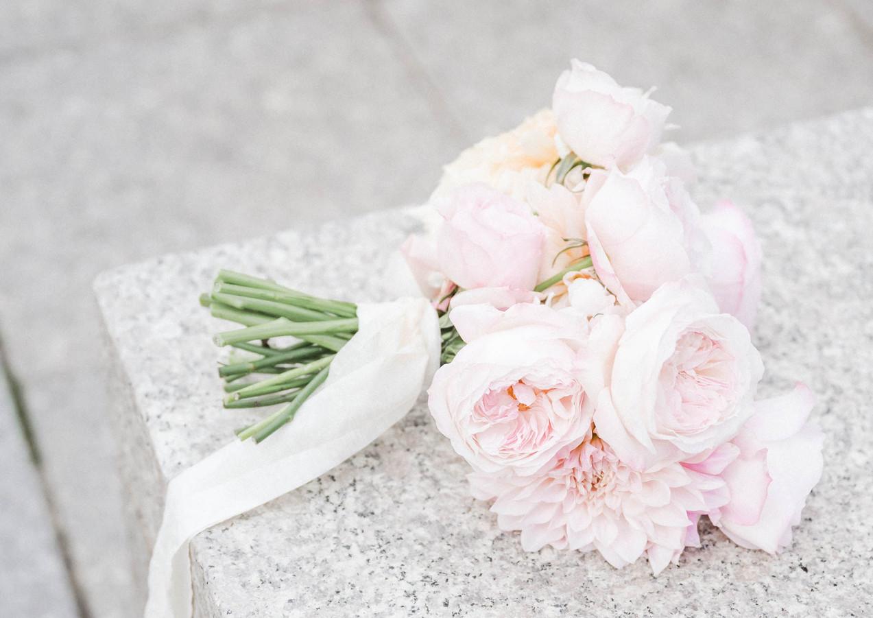 Luxe Blush Garden Rose and Dahlia Bouquet