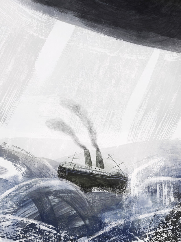 A Ship At Sea, caught in a storm