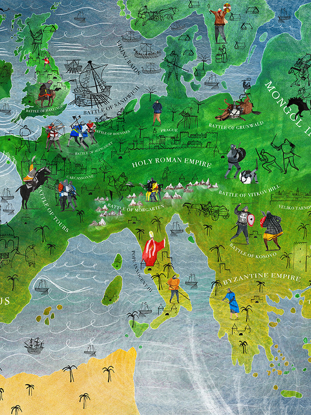 Illustrated Map of Medieval Europe