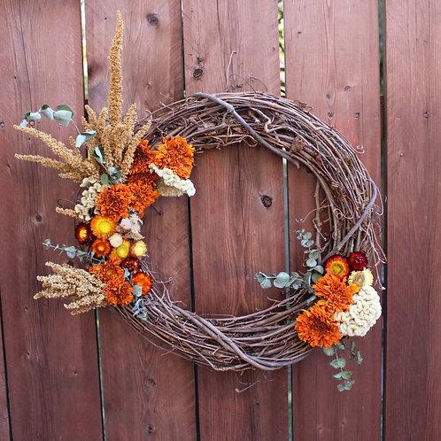 Dried Marigold Flower Wreath