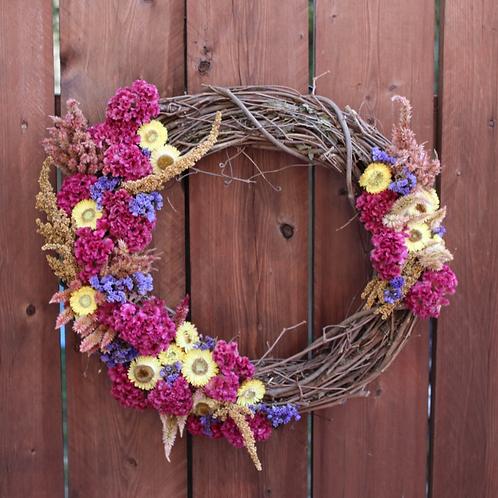 Pink Celosia Dried Flower Wreath