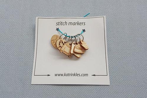 編織記號圈(六種圖案)Ring Stitch Markers