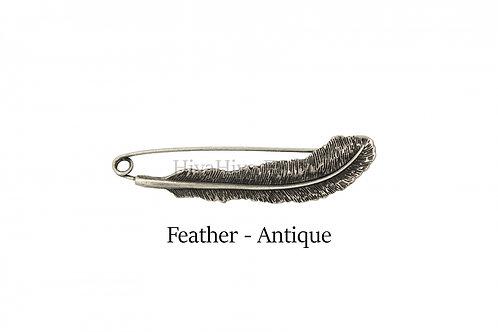 披肩別針Shawl Pins_Feather-Antique