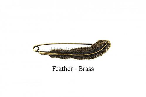 披肩別針Shawl Pins_Feather-Brass