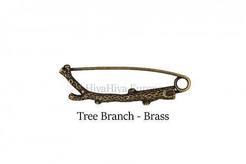 披肩別針Shawl Pins_Tree Branch-Brass