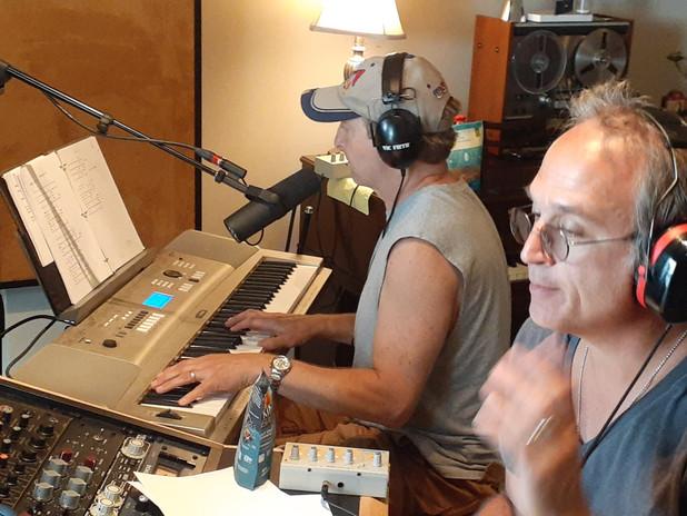 Recording a scratch track.