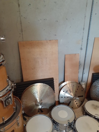 """Plywood used for percussion in """"Worship."""""""