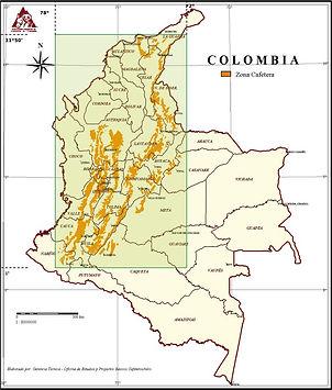 Carte des régions de café en Colombie