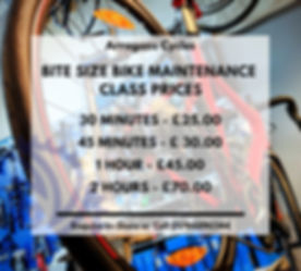 Bite size bike Maintenance Class Prices_