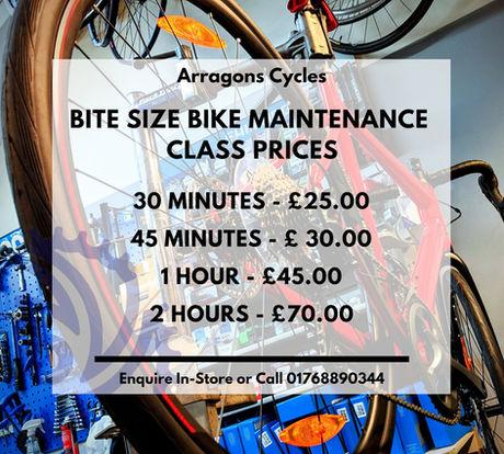 Bite size bike Maintenance Class Prices_
