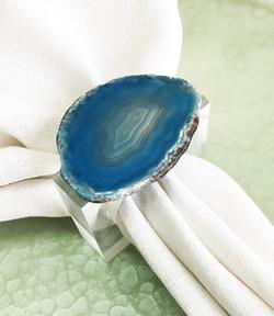 Anel Ágata Cristal - Azul Petróleo