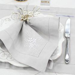 Guardanapo Fleur - Cinza/Branco