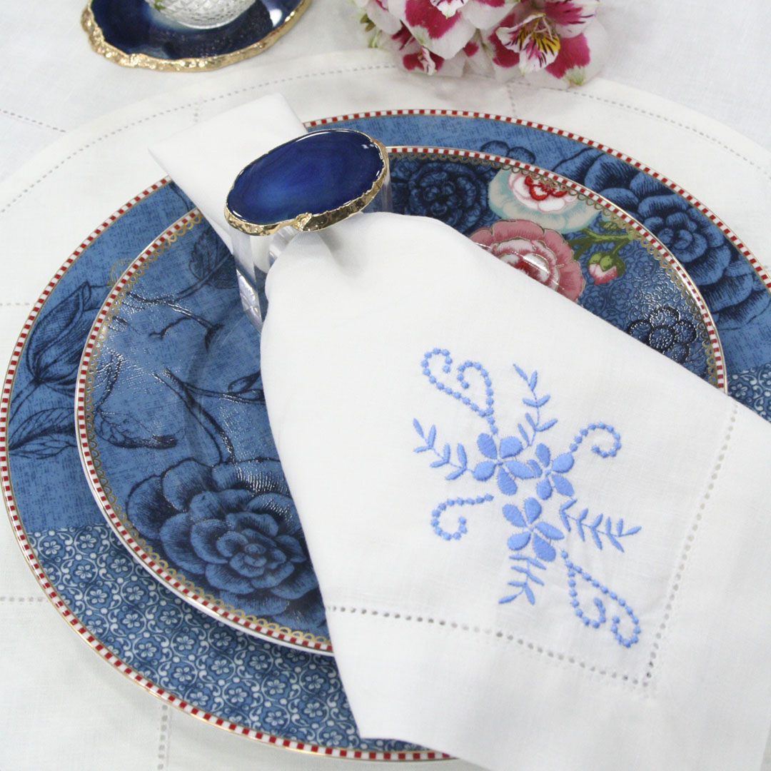 Guardanapo Fleur - Branco/Azul