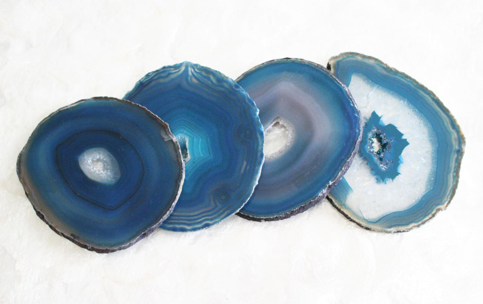 Porta Copos Ágata Azul Petroleo - 4 peças
