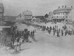 G.A.R parade, Market Square, late 1880s