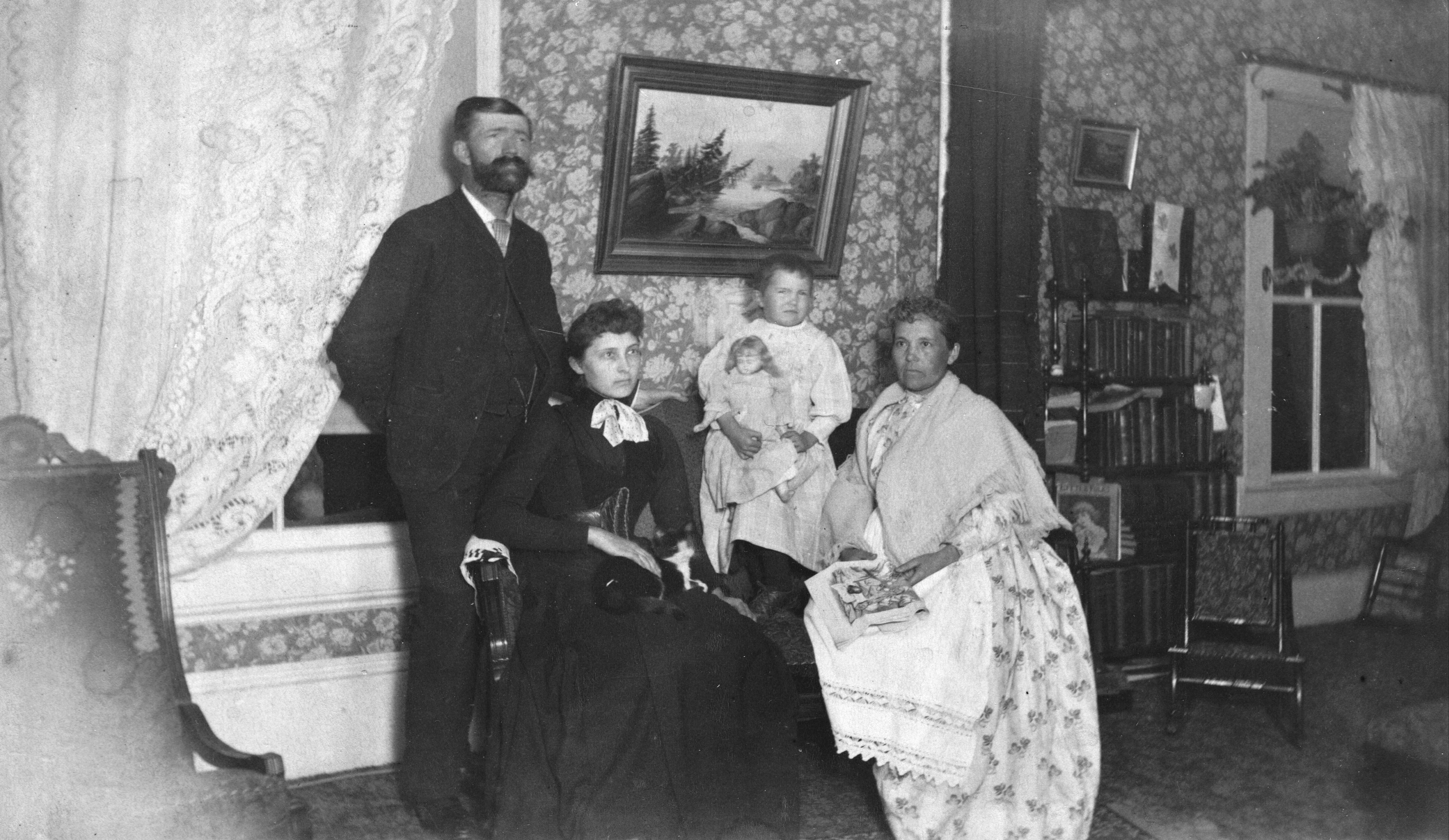 EB White and family flash light photo