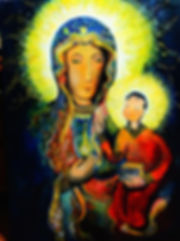 An acrylic painting of mary and baby jesus