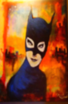 catwoman, batman, acrylic, painting, surreal