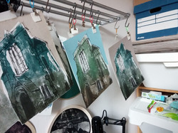 prints hanging to dry