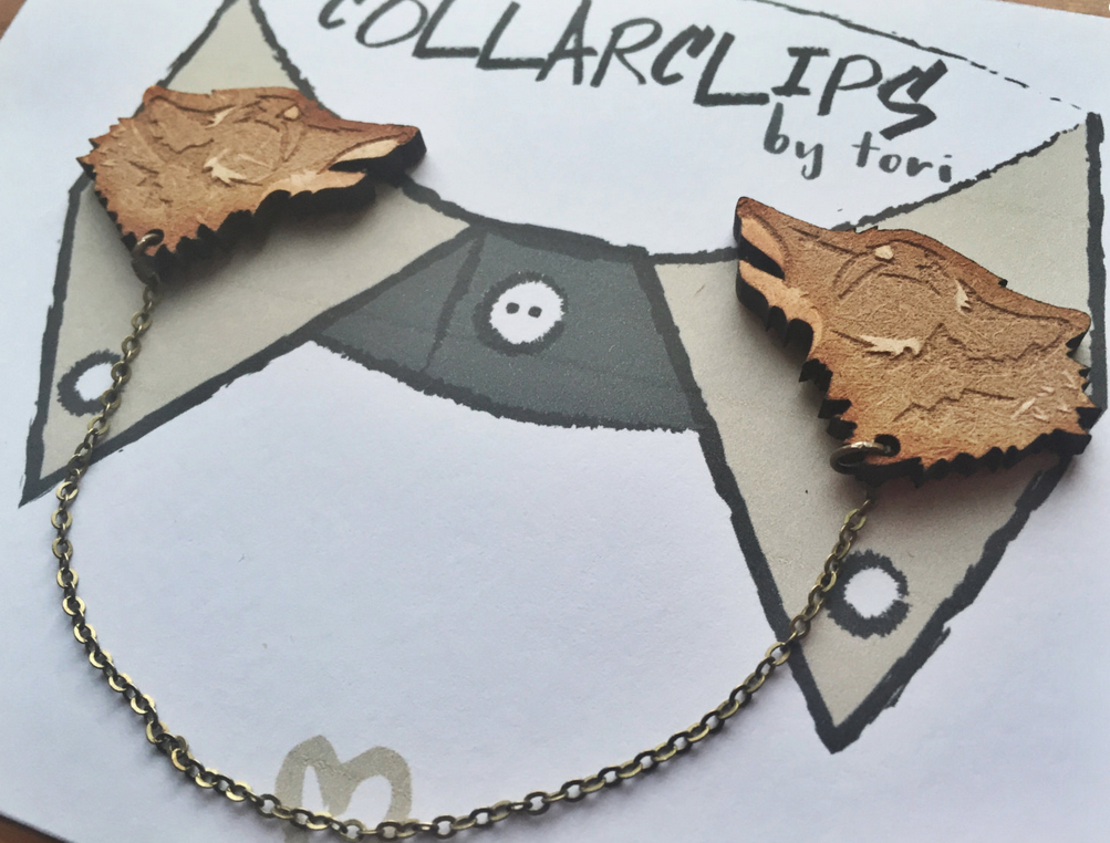 Wooden Wolf Collarclips