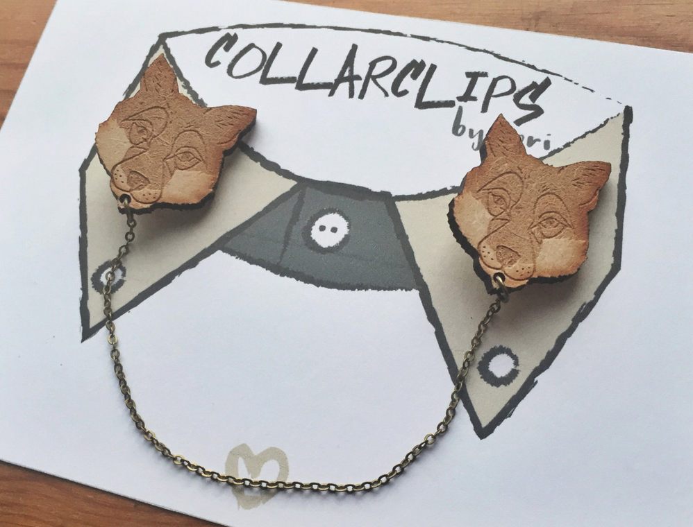 Wooden Fox Collarclips