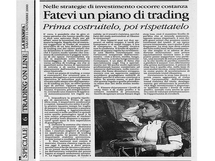 costruite un piano di trading e poi rispettatelo (articolo)