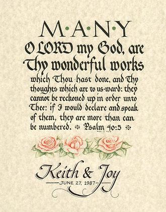 Wedding Gift - Psalm 40:5
