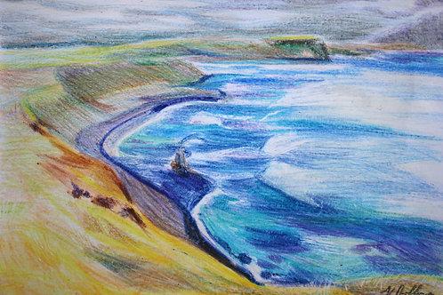 Phillip Island, Yallok Bulluk Country, Original Crayola Crayon, Unframed, A4